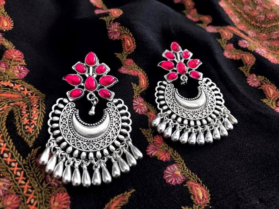 German Silver Medium Sized Chandbali Earrings with Red Stones