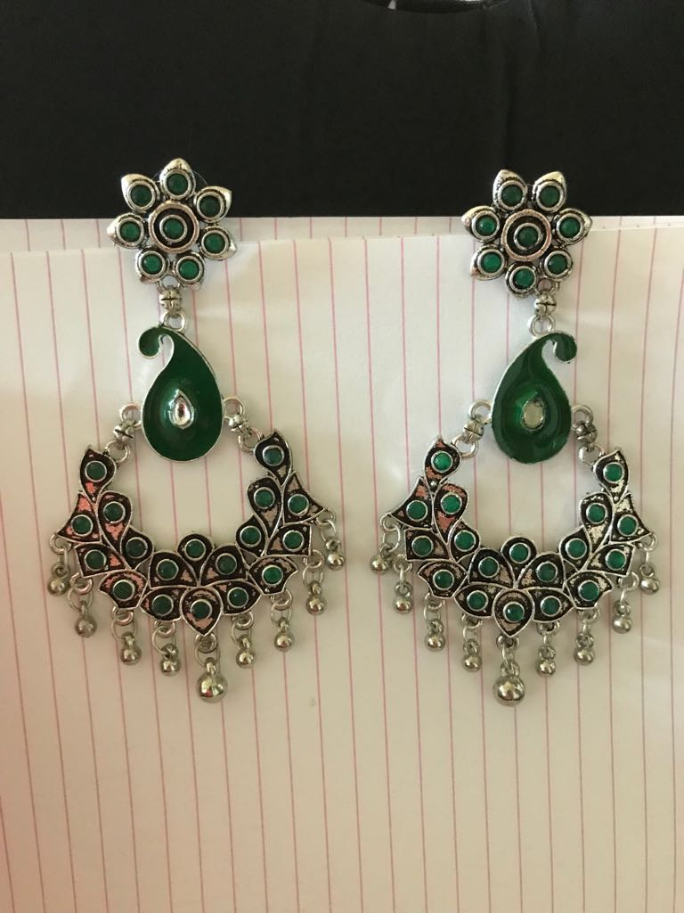 Long German Silver Earrings With Deep Green Stones