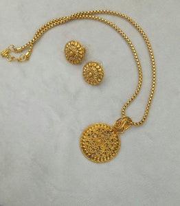 Micron Gold Plated Necklace Set With Matching Earrings