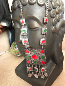 Long German Silver Lightweight Necklace With Red & Green Stones