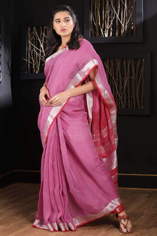 PINK LINEN SAREE WITH ZARI BORDER