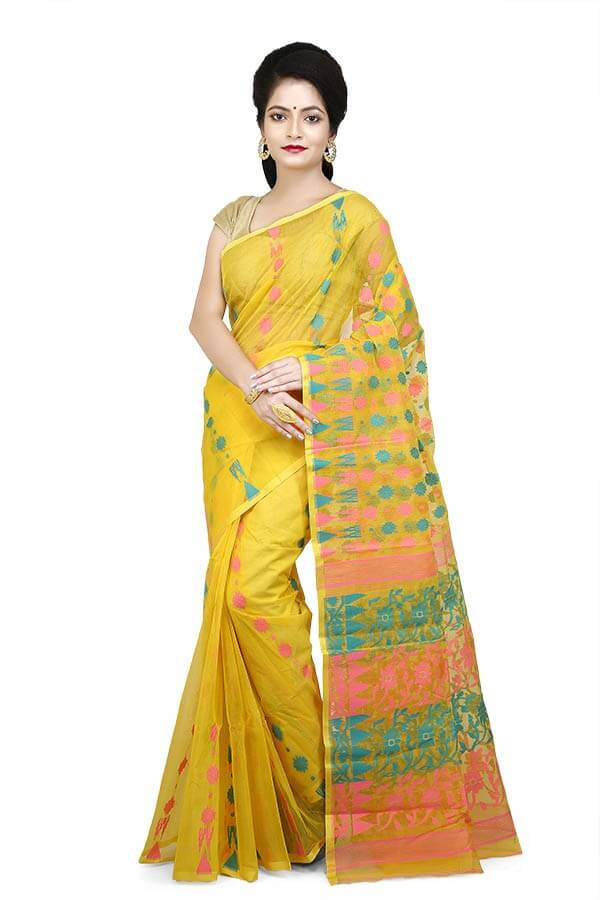 Yellow with Aqua and Link Pink Motifs Fancy Dhakai Jamdani Sari