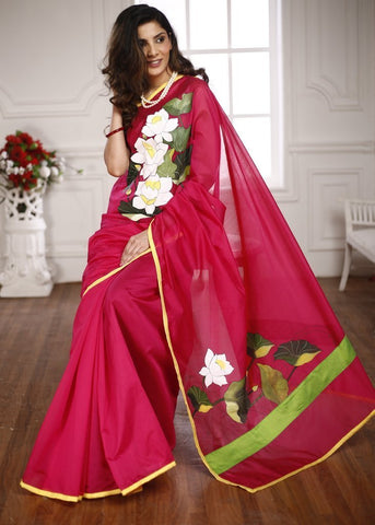 HAND PAINTED PINK CHANDERI SAREE