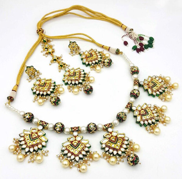 Beautiful heavy Rani Haar Jadau Kundan Necklace with Meenakari work on back with Earrings