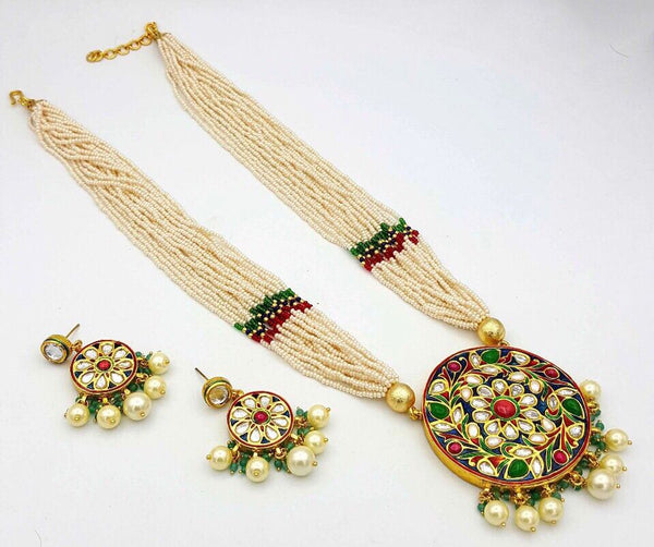 Beautiful heavy Rani Haar Jadau Kundan Necklace with Meenakari work with Earrings