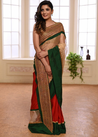 TISSUE & RED SEMI SILK COMBINTAION SAREE WITH EXQUISITE ZARI BORDER