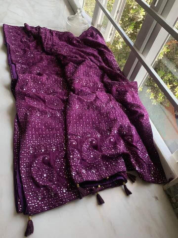 Eggplant Chiffon Saree with Lucknowi Chikankari Work
