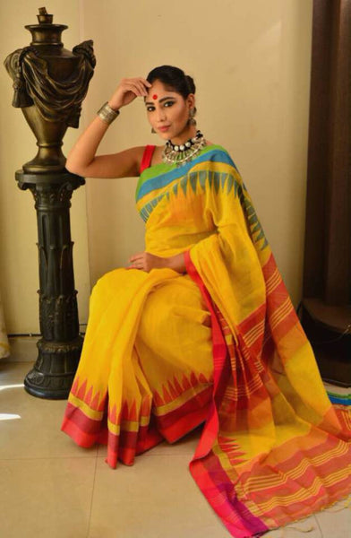 Yellow Handwoven Pure Khadi Cotton Saree