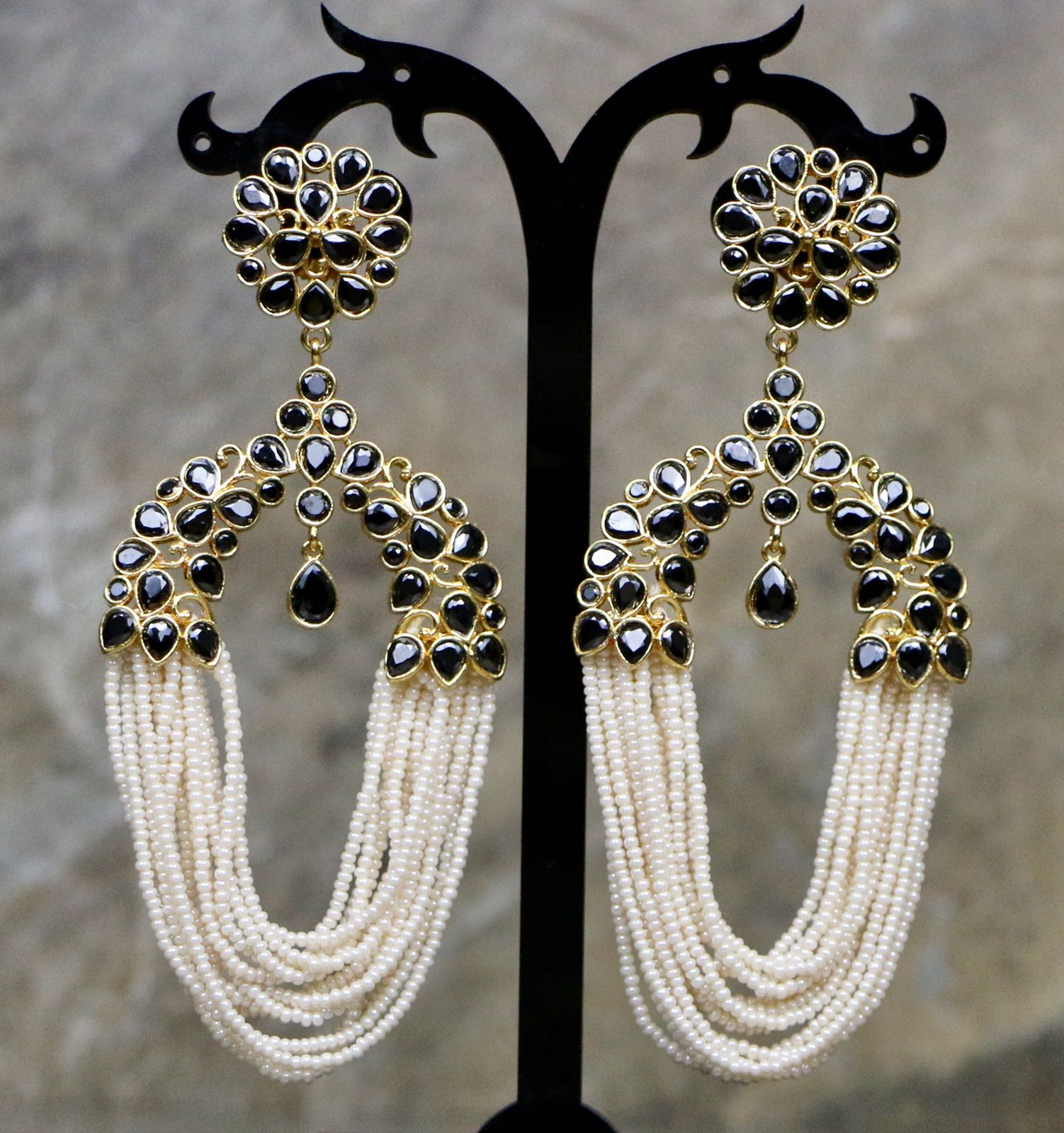 Gold Plated Black Stone Earrings with White Pearls