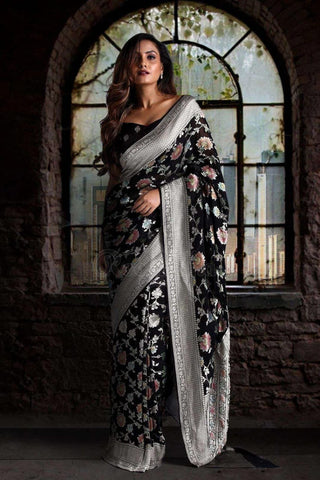 Black Pure Chiffon Saree with Floral Designs