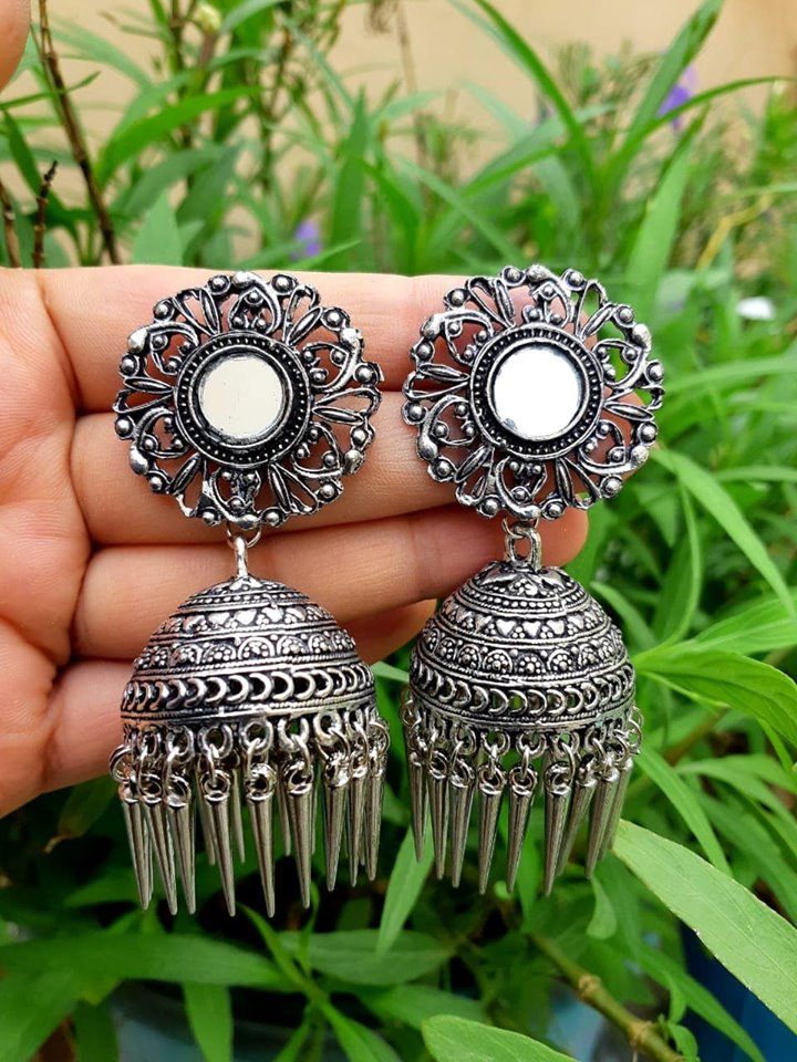 German Silver Designer Jhumka Earrings