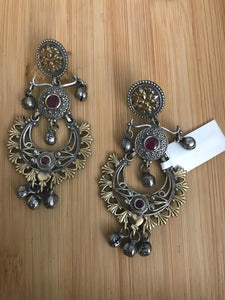 Beautiful Gold & Silver Colored Earrings With Red Stone