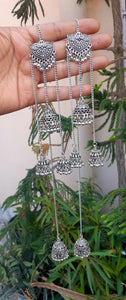 German Silver Long Multi Layered Jhumka Earrings