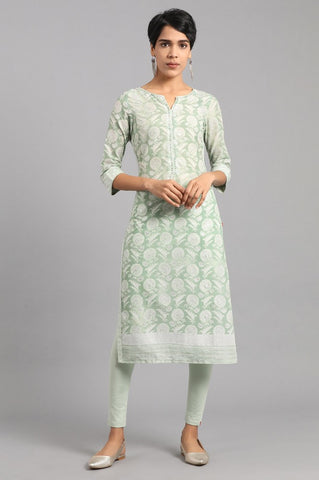 Green Round Neck Printed Kurti