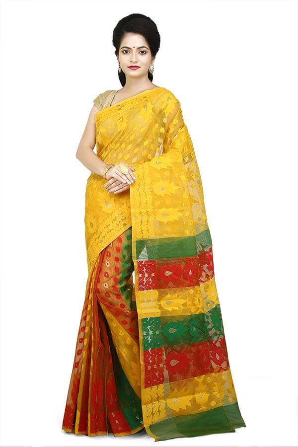 Crome Yellow, Red and Green Ethnic Jamdani Dhakai Saree