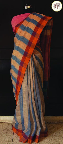 Blue And Beige Broad Striped Handwoven Linen Saree With Pure Cotton Pink Printed Blouse Material