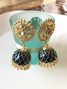 Deep Blue and Gold Colored Stone Studded Jhumka Earrings