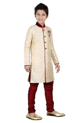 Boys Cream Brocade Kurta Pajama Set