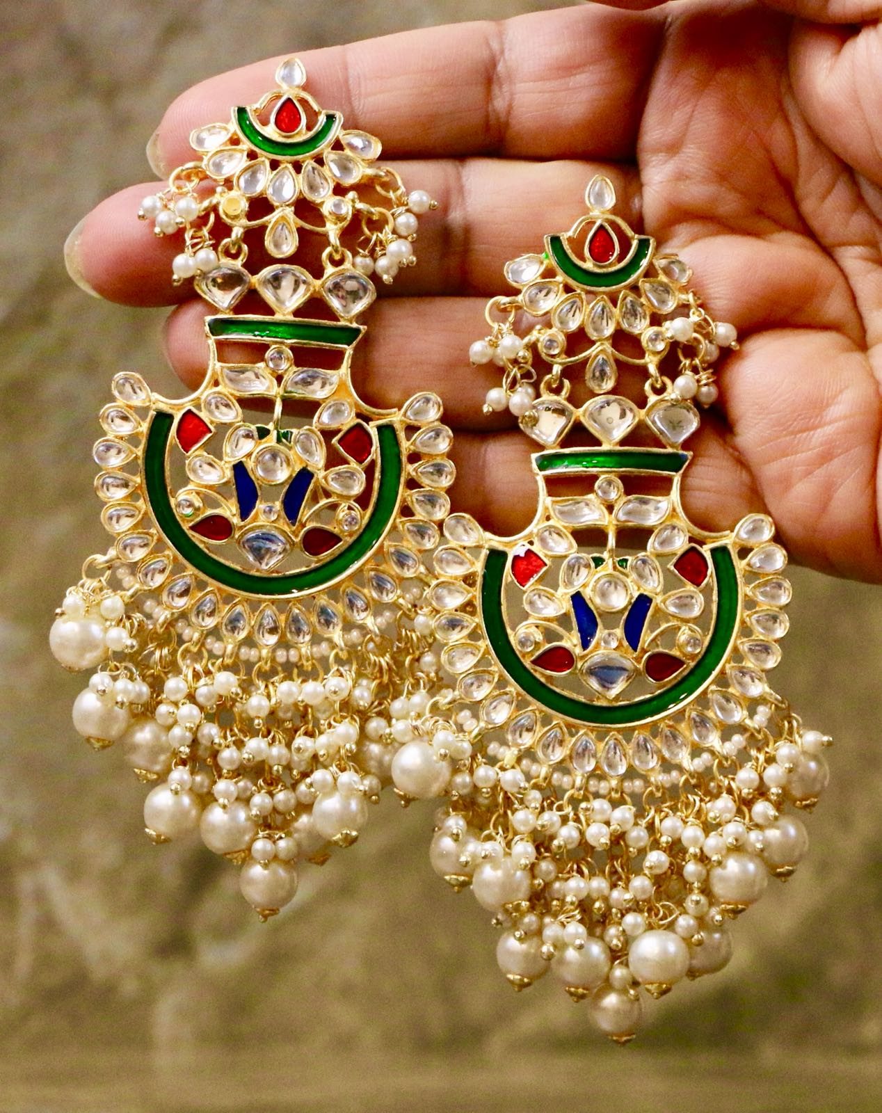 Gold Plated Kundan Enameled Jhumka Earrings with Red & Blue Semi Precious Stones & White Pearls