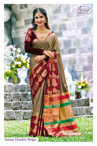 Beige Colored Pure Cotton Silk Soft Handloom Saree with Multicolored Pallu
