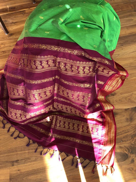 Soft Green and Maroon Cotton Silk Gadhwal with Maroon and Golden Zari Contrast border and Aachal