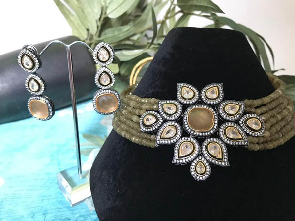 Sap Green & Gold Silver Choker Kundan Necklace Set with Matching Earrings
