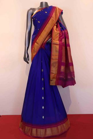 Blue & Pink Gold Dual Tone Colored South Silk Saree