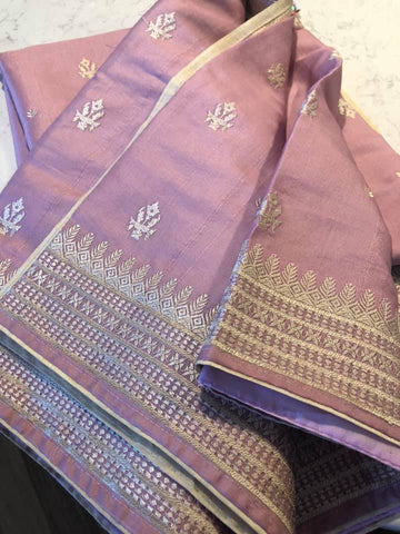 Baby Pink & Beige Kashmiri Embroidered Saree on Handloom Silk with Beige Butti's