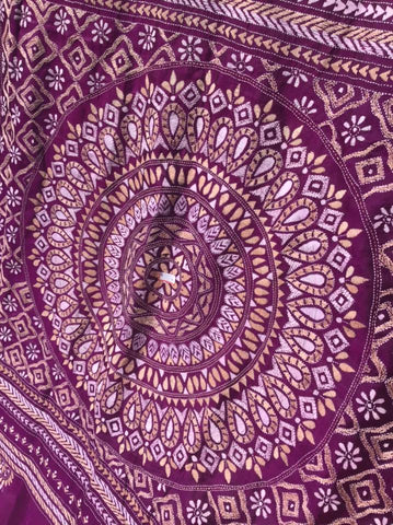 Purple, Tan and White Pure Bangalore Silk Kantha Stitched Saree