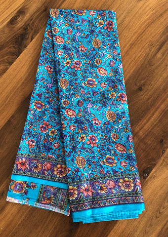 Super Soft Turquoise Floral Printed Saree