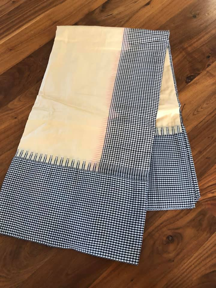 Pure Silk Beige Saree with Black and White Checkered Fabric Border and Silk Aachal