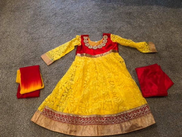 Yellow and Red Net and Velvet Anarkali Suit