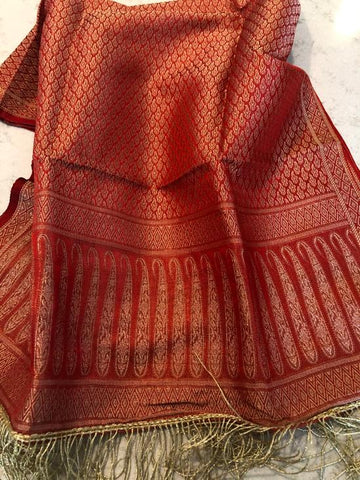 Rust Red Handloom Banarasi Silk Stole with Gold Zari