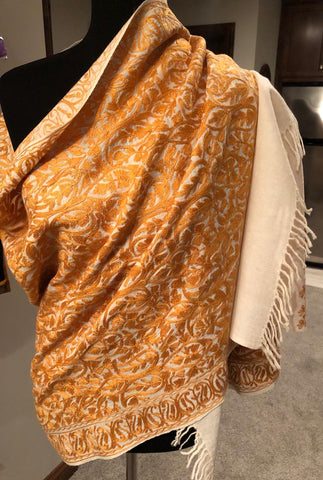 Off White Color with Orange Threadwork Pure Kashmiri Wool Shawl