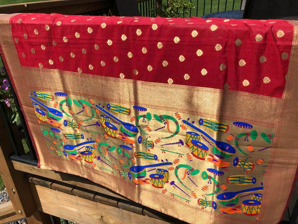 Soft Art Silk Red Saree with Golden Butta with Golden Aachal with Musical designs