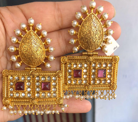Gold Plated Silver Chandbali Earrings with Pearl & Colored Glass Twist