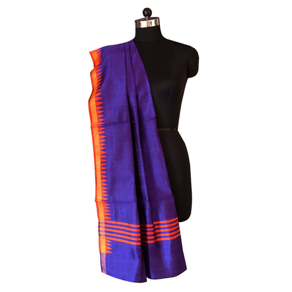 Handwoven Tussar Silk Dupatta in Purple Color with Orange temple border