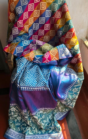 3D Multi Color Kantha Stitched Saree in Pure Bishnupuri Silk Saree