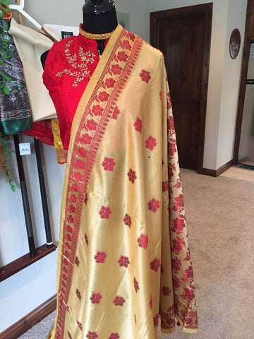 Gold & Maroon Handwoven Cotton Silk Handloom Saree