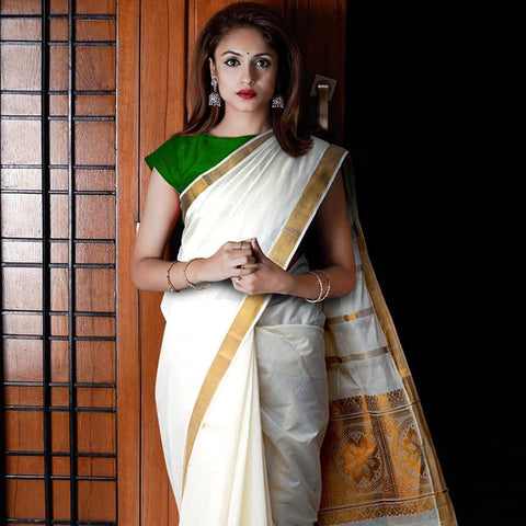 Off White Pure Kerala Kasavu Cotton Saree