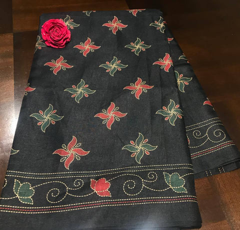 Soft Printed Black Kantha Saree