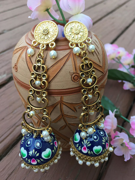 Beautiful Gold Plated Blue Colored Hand Painted MeenaKari Earrings with White Pearls