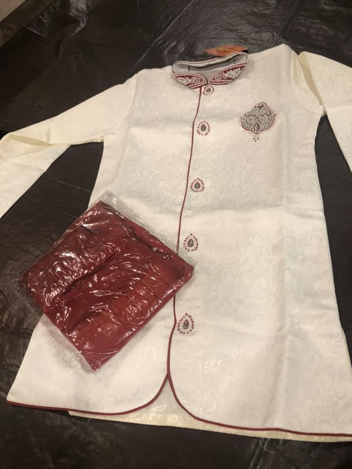 Boys White and Maroon Sherwani with Maroon Pants
