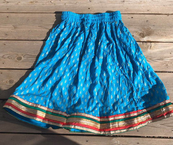 Sky Blue Cotton Elastic Knee Length Skirt