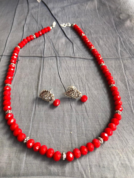 Red Garnet Necklace with German Silver Design with Matching Earrings