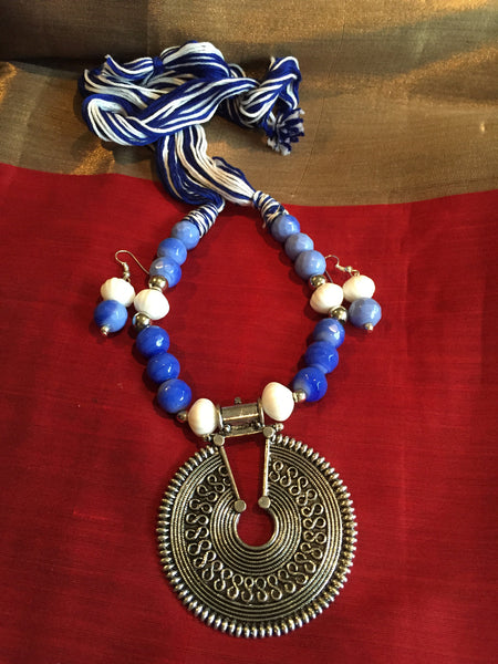 Blue & White Threaded & Beaded Necklace with Matching Earrings