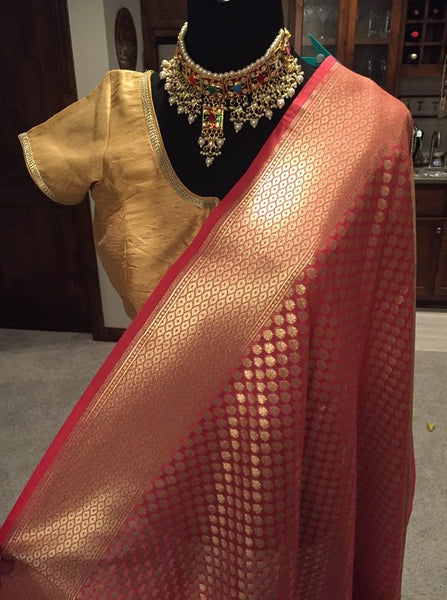 Pink and Gold Semi Uppada Silk Saree