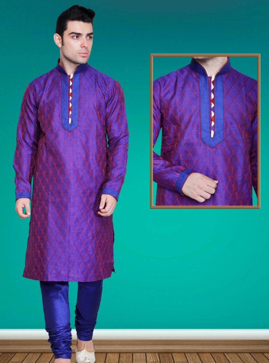 Deep Purple Colored Dupion Silk Mens Kurta Pajama Set