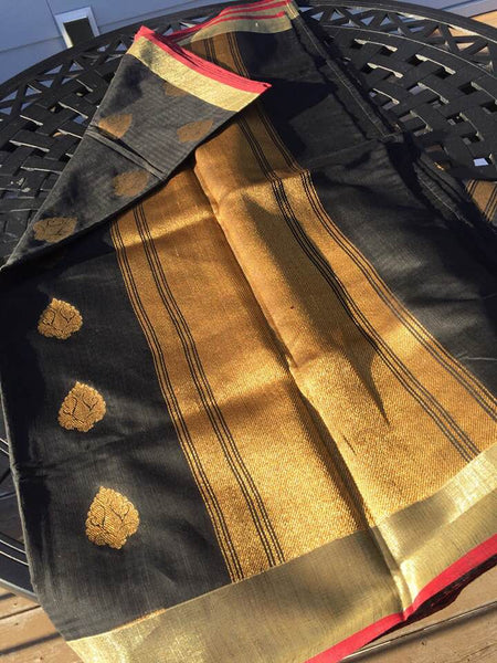 Black and Gold Silk Cotton Saree
