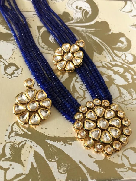 5 Layer Blue Garnet Kundan Necklace with Earrings